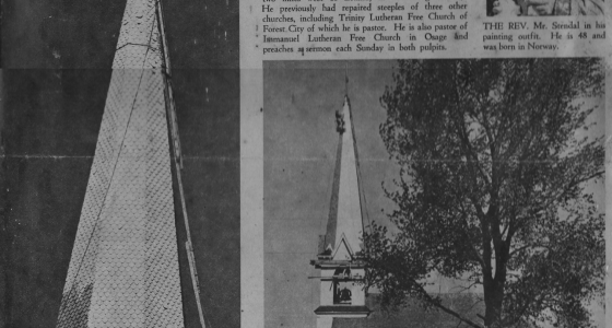 West Prairie Lutheran Church Steeple being painted by Rev. Karl Stendal of Forest City, Iowa, 1955