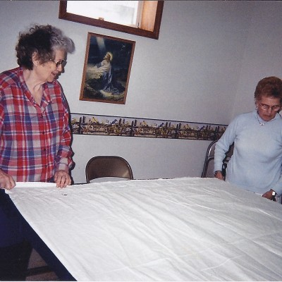 Quilting at West Prairie with Rozella Hagen, Mavis Thorson and Marlys Haugen.