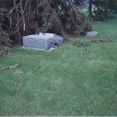 Headstones toppled by storms of June 2008